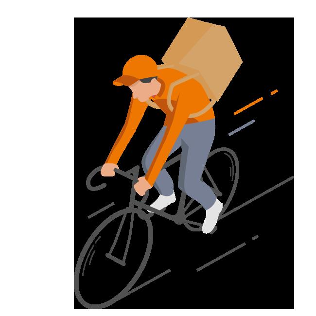dessin de coursier à vélo